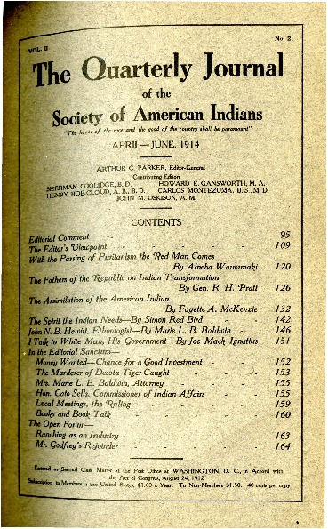 The Quarterly Journal of the Society of American Indians v. 2 no. 2 (April-June 1914)