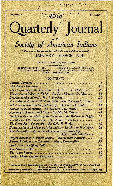 The Quarterly Journal of the Society of American Indians v. 2 no. 1 (January-March 1914)