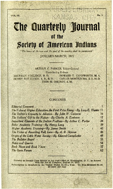 The Quarterly Journal of the Society of American Indians v. 3 no. 1 (January-March 1915)