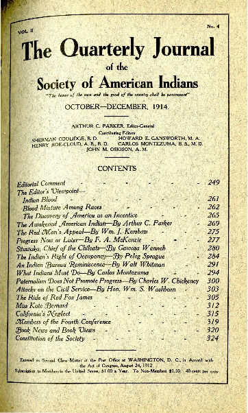 The Quarterly Journal of the Society of American Indians v. 2 no. 4 (October-December 1914)
