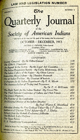 The Quarterly Journal of the Society of American Indians v. 1 no. 4 (October-December 1913)